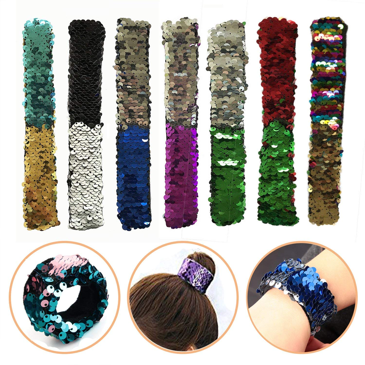 HOOPE 7 Pack Slap Bracelet Reversible Sequin Mermaid WristBand Hairband, Party Favors Birthday Christmas Gifts Toys Stage Charm Decorative