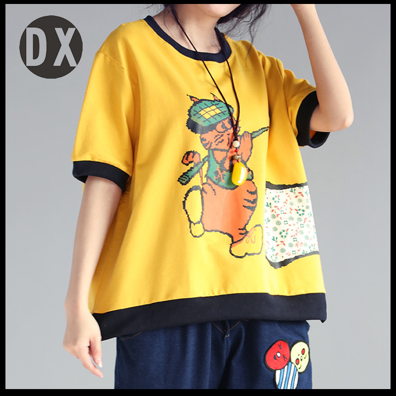 Fat MM large size women summer new fertilizer to increase the cotton cat printing loose thin sleeve short sleeve T shirt