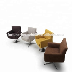 Foshan metal fabric relaxing sofa chair,elegant wooden swivel sofa chair