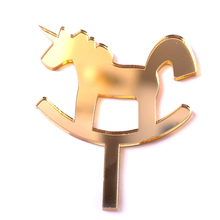 custom gold glitter tone unicorn acrylic laser cut cupcake topper for kids party baby shower favors