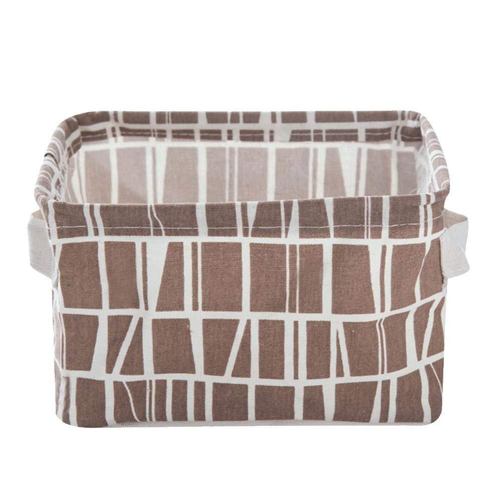 Canvas Storage Basket,Aolvo Rectangular Storage Basket Foldable Storage Bin Organizer Bag Desktop Cotton Linen Storage Box with Handles for Living Room Bedroom Office