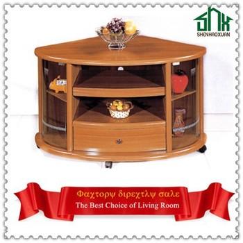 Antique home furniture corner tv stands wood led tv table for Table design led