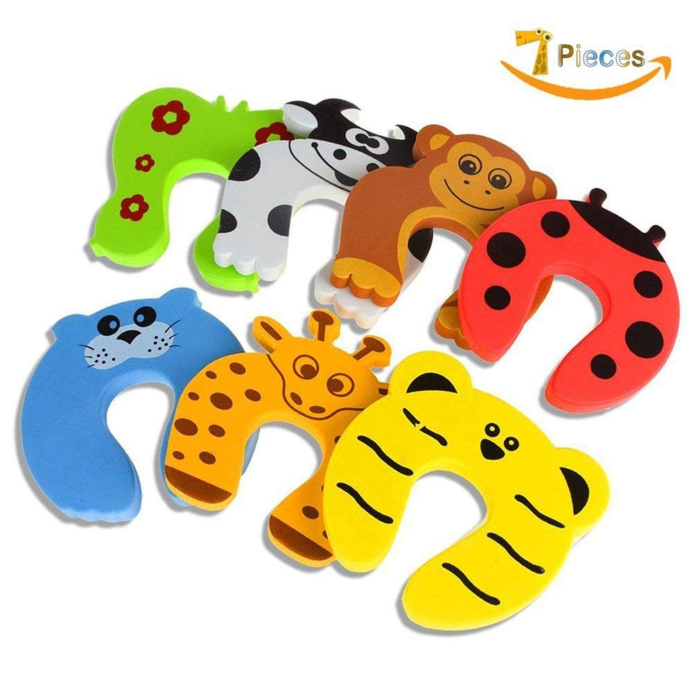 Door Stopper, 7 Pcs Child Safety Animal Cushion Hinge Door Stop,Baby Safety C Shape - Prevent Injuries from Slamming,Protect Child & Pets from Accidentally Getting Locked in Room