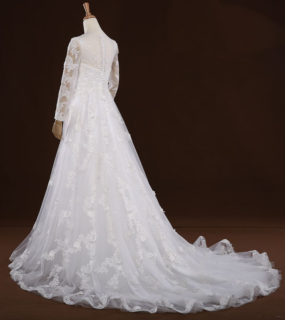 Rsm66287 real white long sleeve ladylike bridal dress for Where to buy non traditional wedding dress