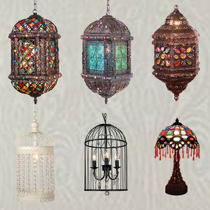 Alibaba Wholesale LED Decorative Moroccan Brass Lanterns Antique Metal Hanging Lamp NS-124010