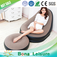 Comfortable PVC Flocked Inflatable Lazy Sofa with Footrest