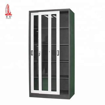 Black Metal Bookcase 5 Layer Gl Door