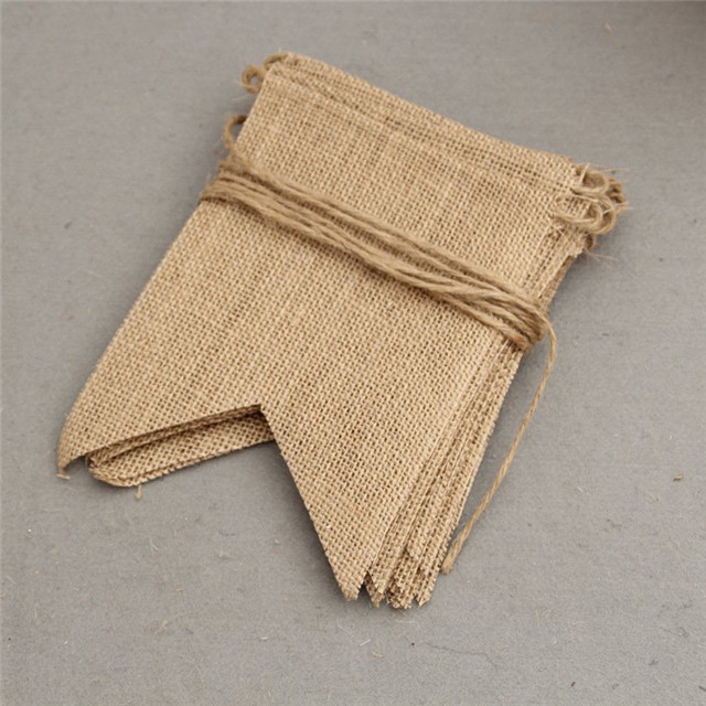 Dovetail Jute Burlap Flags Wedding Pennant Banner Birthday Party Linen Pennant Home Decor Event Supplies