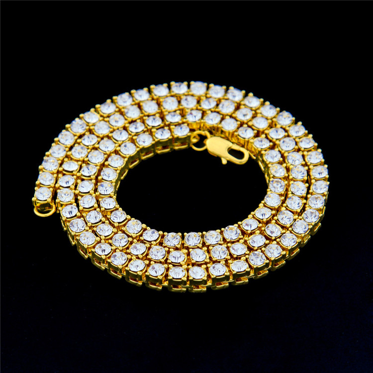 Factory Price 18k Gold 1 Row Rhinestone Crystal Iced Out Chain Men's Hip Hop Tennis Necklace Wholesale