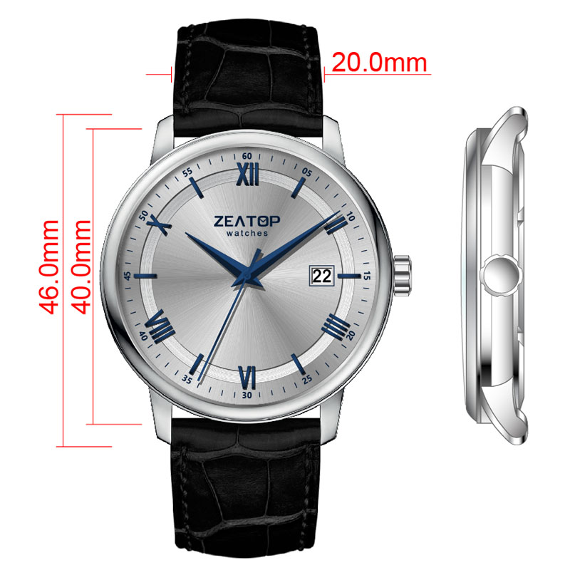Business Casual 40MM Date Display Sapphire Glass 5ATM Waterproof Leather Strap Men Watch Winner