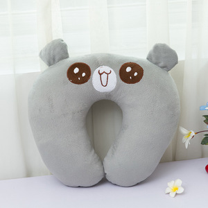 wholesale u-shape promotional chin supporting custom animal emoji bean bag soft versatile travel neck pillow for plane