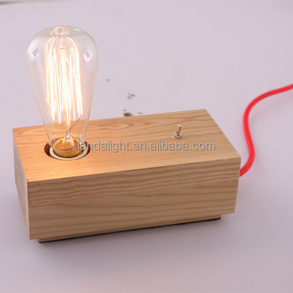 Vintage Style Ancient Wooden Table Lamp Edison Bulb Reading Lamps ...
