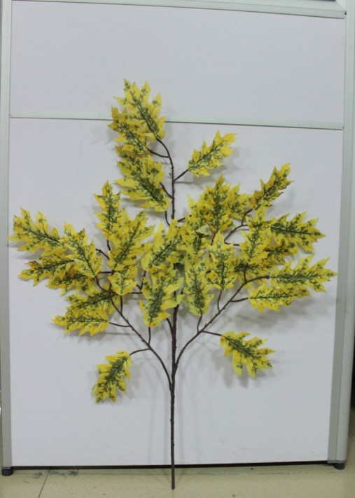 2014 SJ TL31 Wholesale fake yellow oak leaf for landscape project autumn tree leaves decor artificial tree branches oak leaves