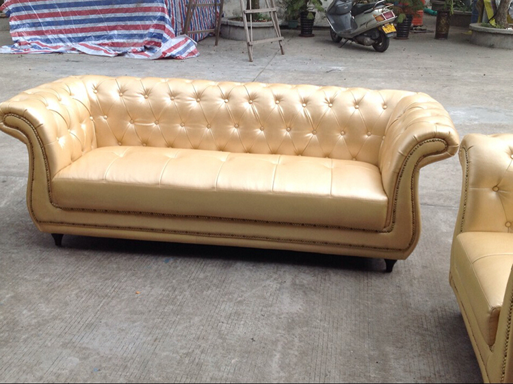 Europe Type Golden Leather Button Tufted Upholstered Sofa Set - Tufted upholstered sofa