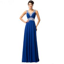 Tmavě modré dlouhé večerní šaty se zdobením z Aliexpress