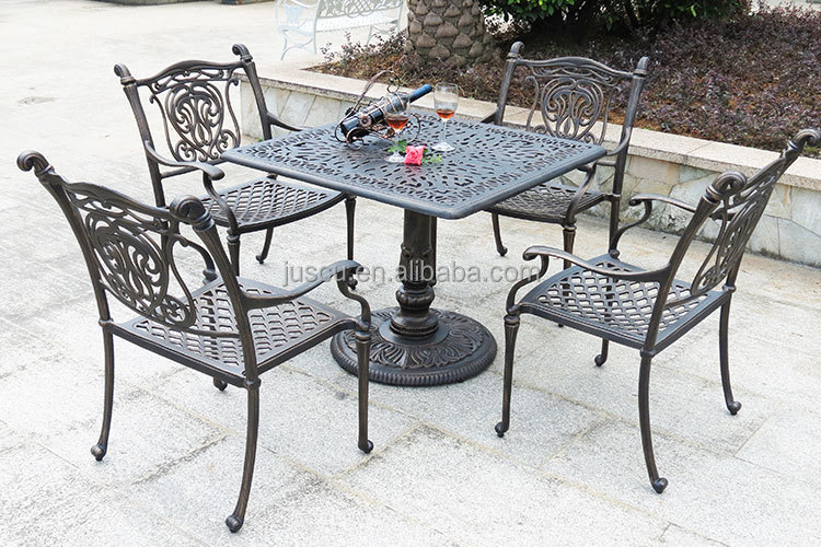 Single Leg Dining Table And Chairs Square Shape Cast Iron Outdoor Furniture