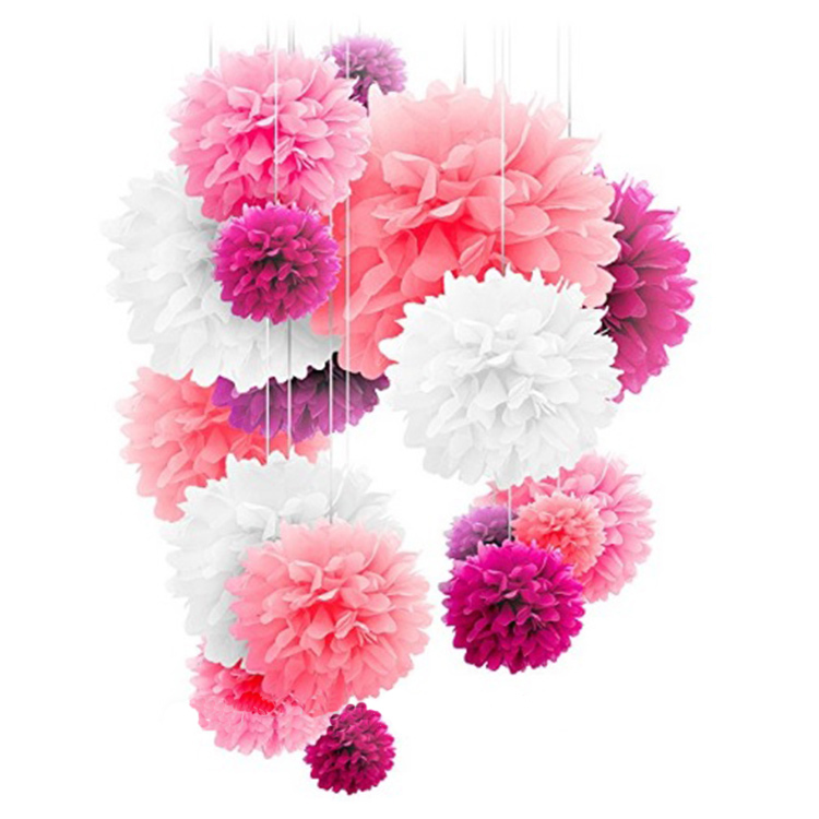 Meilun Art Crafts Purple White Pink Mixed Color Tissue Paper Pom Poms for wedding