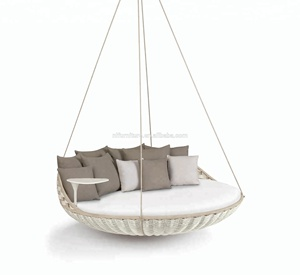 Modern Outdoor furniture big round daybed hanging lounge bed