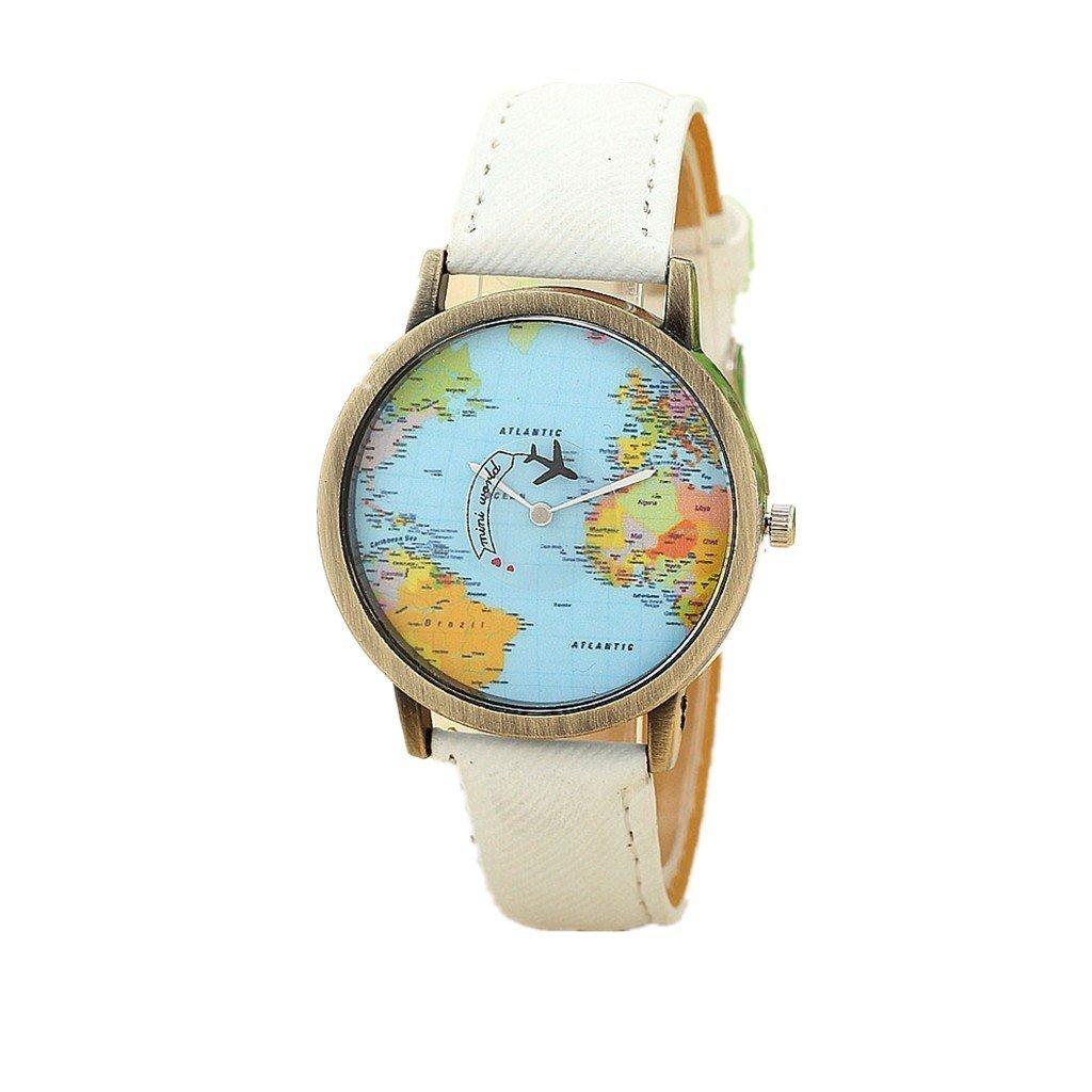 Beautyvan New Fashion Global Travel By Plane Map Women Dress Watch Denim Fabric Band Watchs (B)
