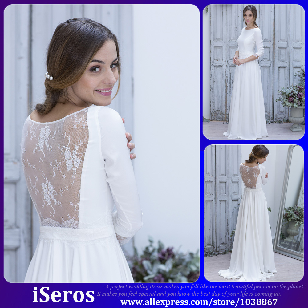 Simple Elegant Country Style Wedding Dresses With Lace: Simple Elegant White Lace Illusion Long Sleeves Sexy Back