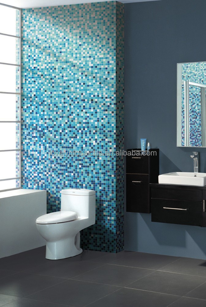 normal glass mosaic tiles degradation pattern for bathroom wall pool green blue