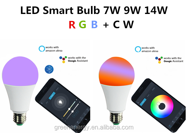 E27 Wifi Wireless Controlled  Google Assistant Alexa Zigbee Bluetooth WIFI LED Smart Light Bulb 7W 9W 14w