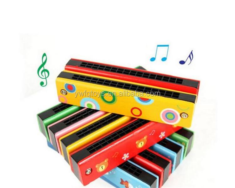 FQ العلامة التجارية بالجملة رائجة البيع الطفل آلة موسيقية الكرتون الفم الخشبي الجهاز الاطفال علبة هارمونيكا صغيرة
