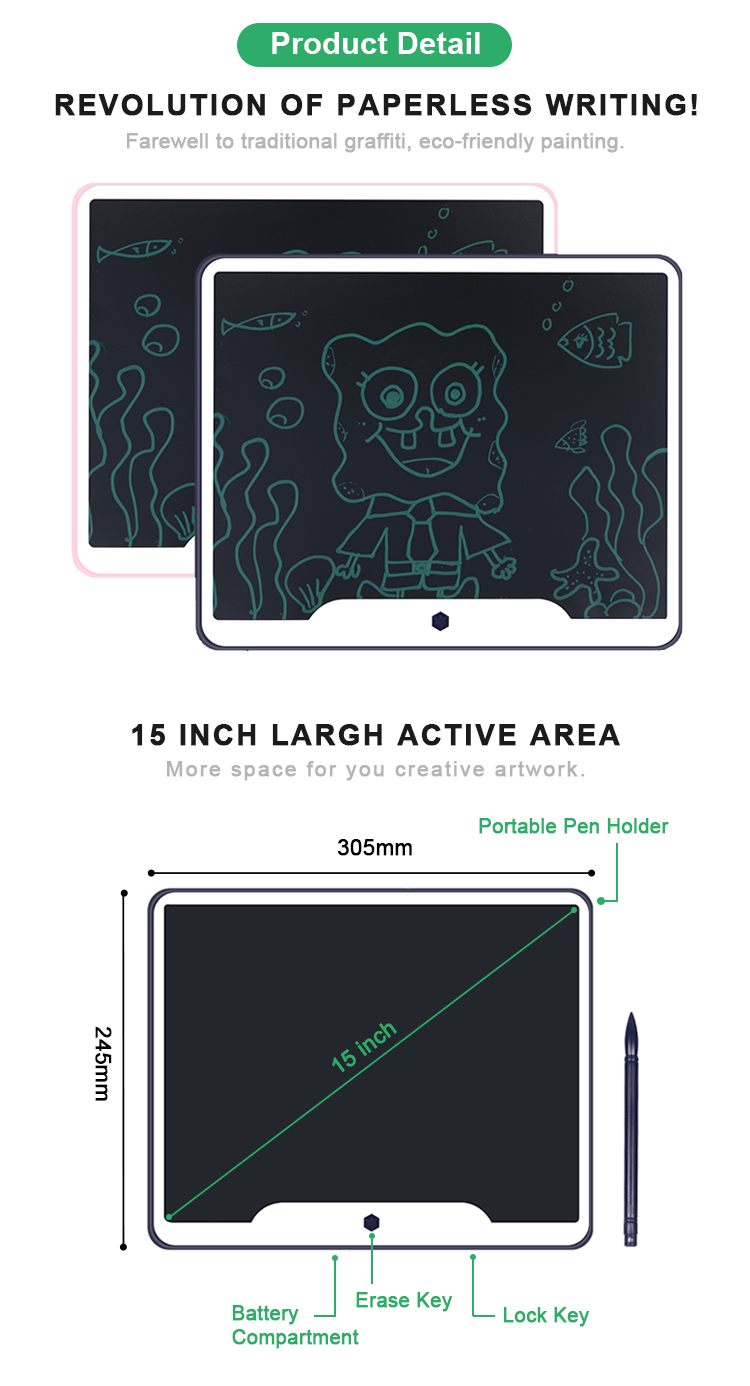 Newyes Christmas Gift 15 inch Electronic Paperless Notepad Lcd Writing Tablet For Kids
