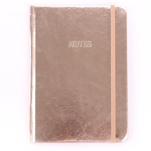 China manufacture custom print college stationery diary journal eco friendly rose gold glitter notebook with elastic band