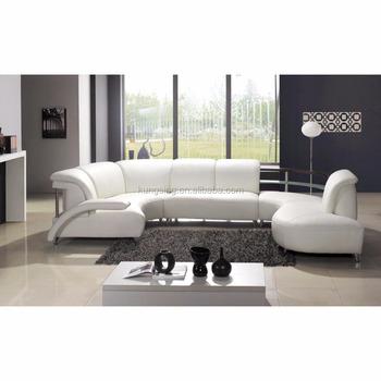 Pure Leather Round Corner Sofa Set Design