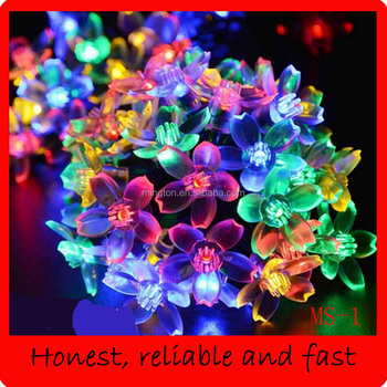 Solar Christmas string light peach blossom shape