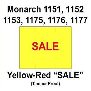 "96,000 Monarch 1151 ""Sale"" Fluorescent Chartreuse General Purpose Labels to fit Monarch 1151, 1152, 1153, 1175, 1176, 1177, 1180 & 1202 Price Guns. Full Case, Free Shipping & includes 16 ink rollers"