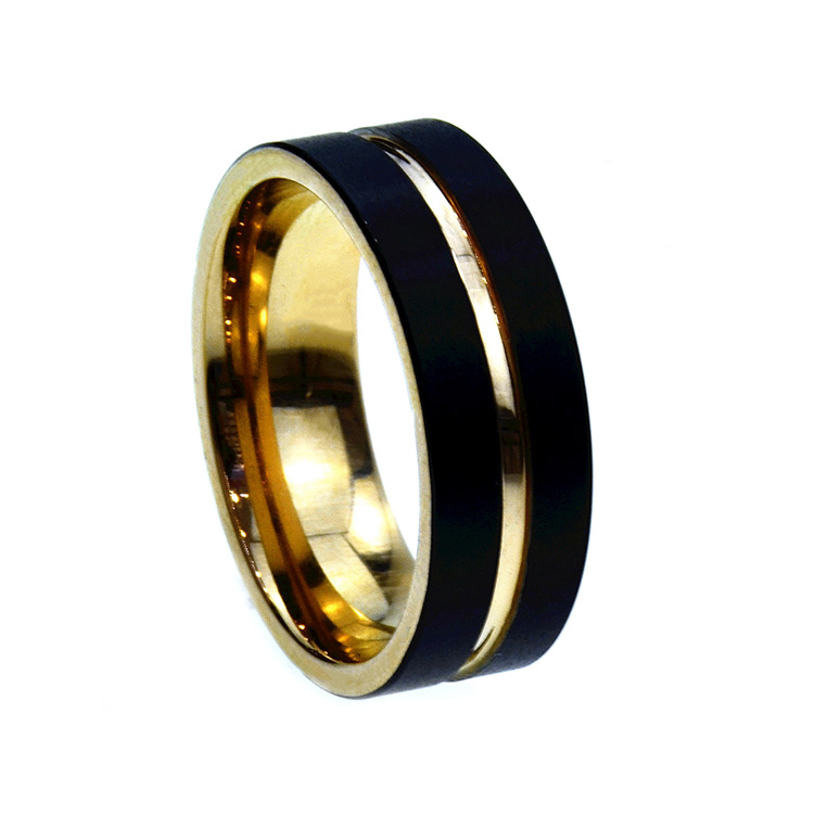 Fashion Jewelry Black Plated Men's Tungsten Carbide Rings Rose Gold Wedding Ring