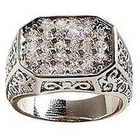 14k White Gold Overlay Pave CZ Men's Ring