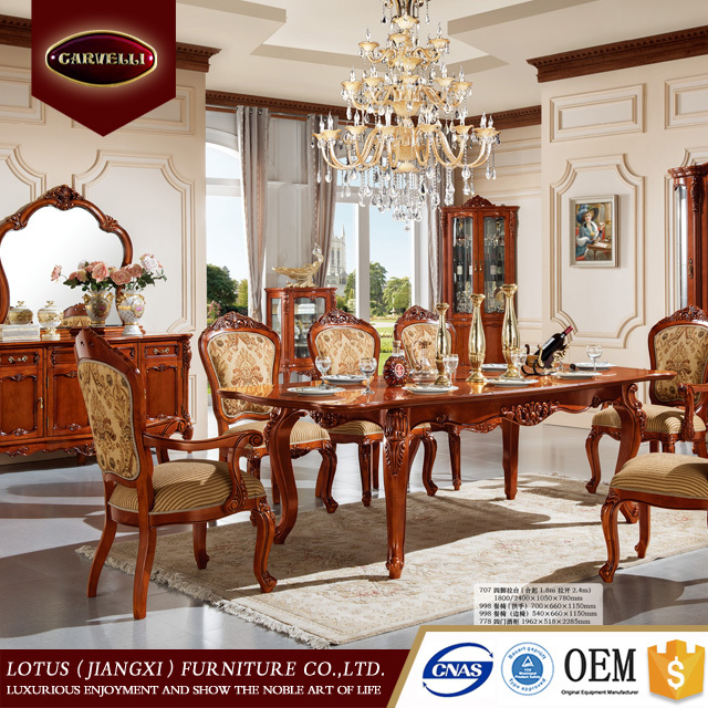 778-1 Neo-classic european style antique gold luxury turkish hand carved dining room set