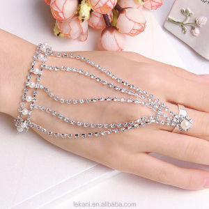 Bright Evening Party Ladies Luxury Fashion Crystal Arabic Ring Bracelet