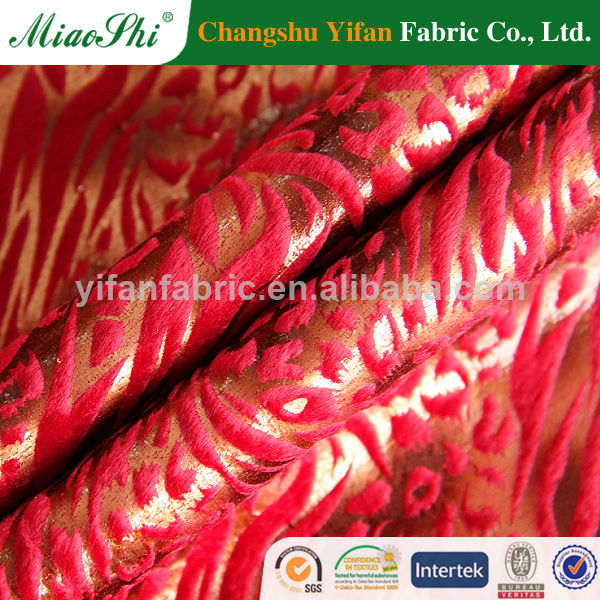 2014 hot sale r flocking and golden sofa fabric/upholstery/home textile