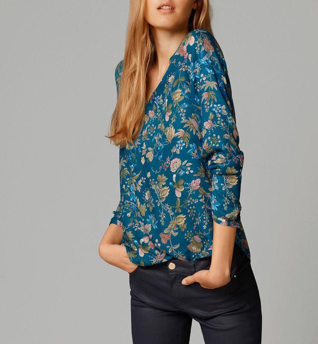 Женская элегантный винтажный лето цветочный принт блузы V шея длинный рукав рубашки свободного покроя приталенный марка топы