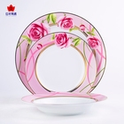 "ceramic red rose elegant decorative 10"" gold rim wedding charger plates wholesale"