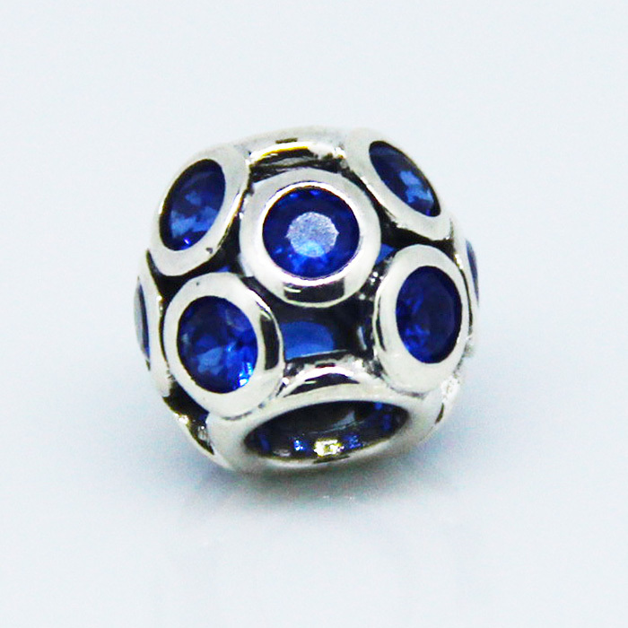 Authentic Sterling Silver S925 Round Beads Blue Clear CZ Stones Charm DIY Jewelry Findings Fits European Brand Charms Bracelets