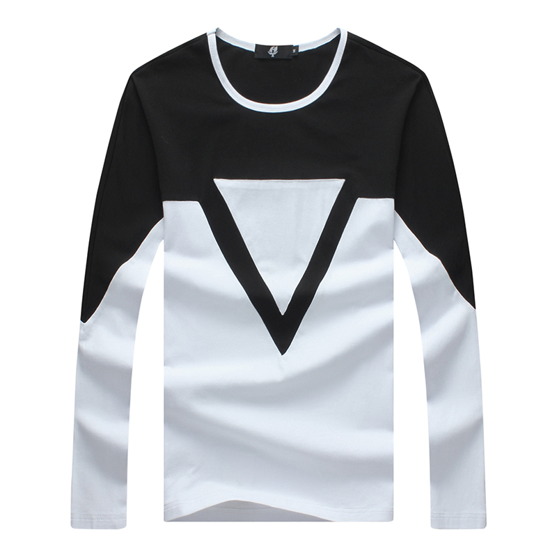 49f2f4894 Get Quotations · 2015 New autumn match color triangle men t shirt casual o  neck top tees 2 color
