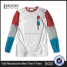 Multi Color Combination For Two Sleeves And Chest Printing 100% Polyester T Shirt