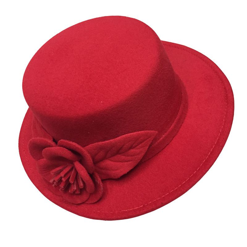 Get Quotations · 2015 autumn winter elegant ladies hats felt fedora round  bowler hats red white black pink flower 1c2df4b55a9