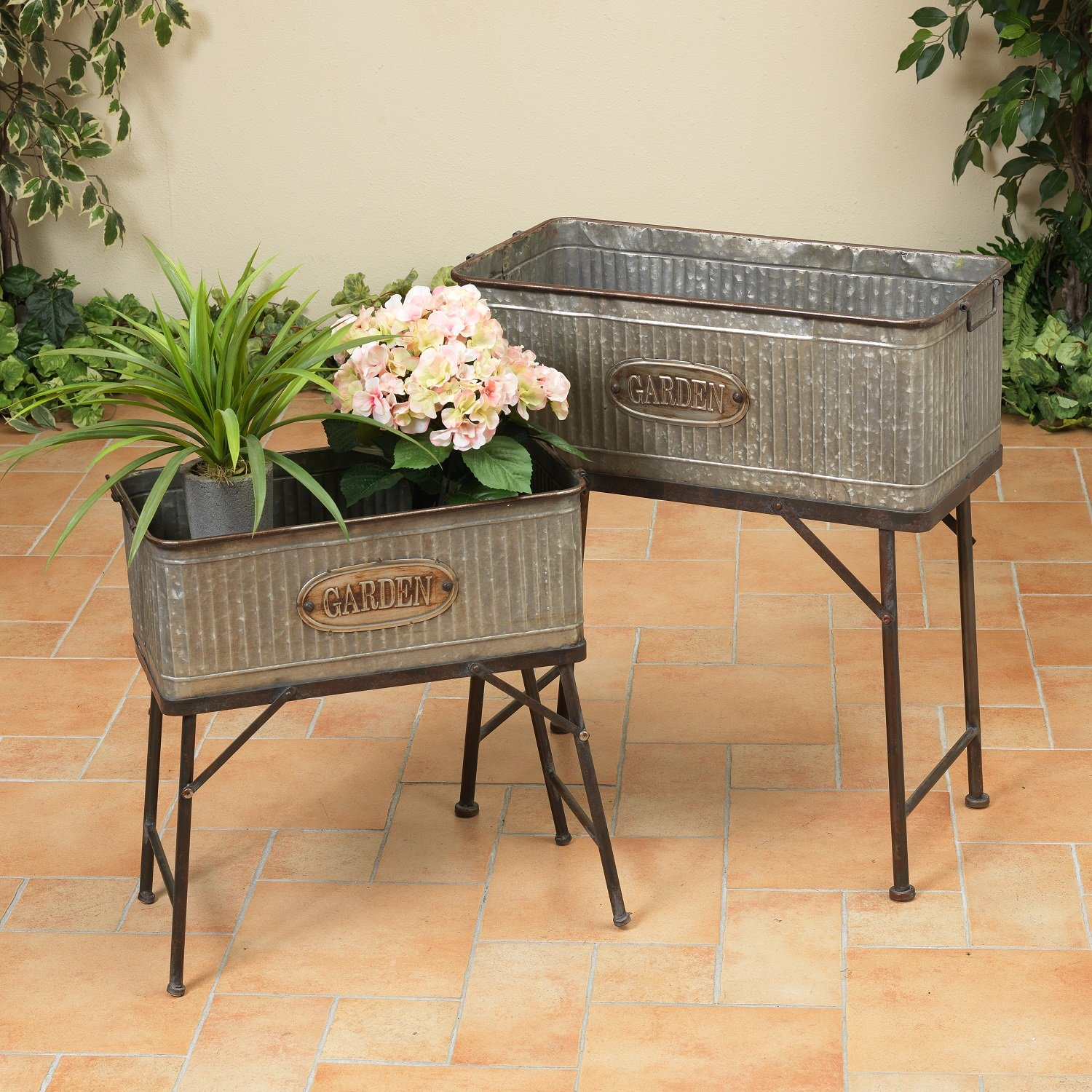 Get Quotations · 2 Rectangular Galvanized Vintage Antique Look Standing  Metal Tub Garden Planters