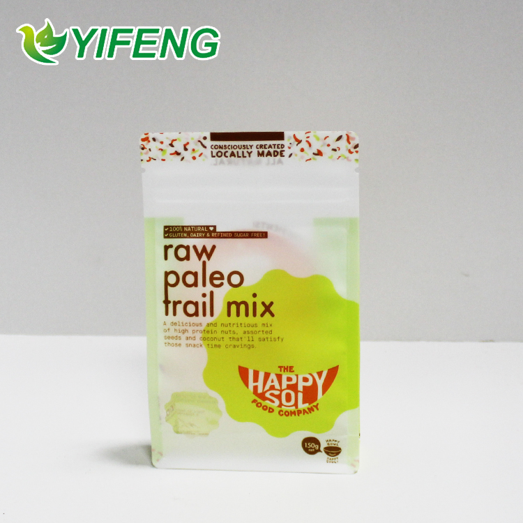 Flat bottom laminated plastic packaging pouches with zip top for rice packaging
