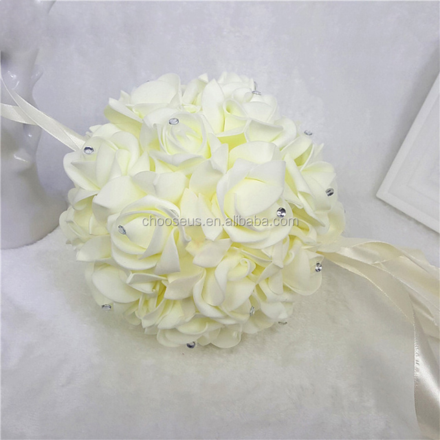 Buy cheap china white decor flower kissing ball products find china 12quot pretty white kissing ball foam artificial hanging flower ball wedding decoration many colors mightylinksfo