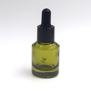 30ml green slant shoulder glass dropper bottle for essential oil olive oil bottle