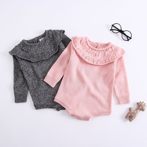 56e6fca31a6 Pink grey Kids Newborn Baby Girl Bodysuits Ruffles Neck Long Sleeve Infant  Knit Jumpsuits Spring Children