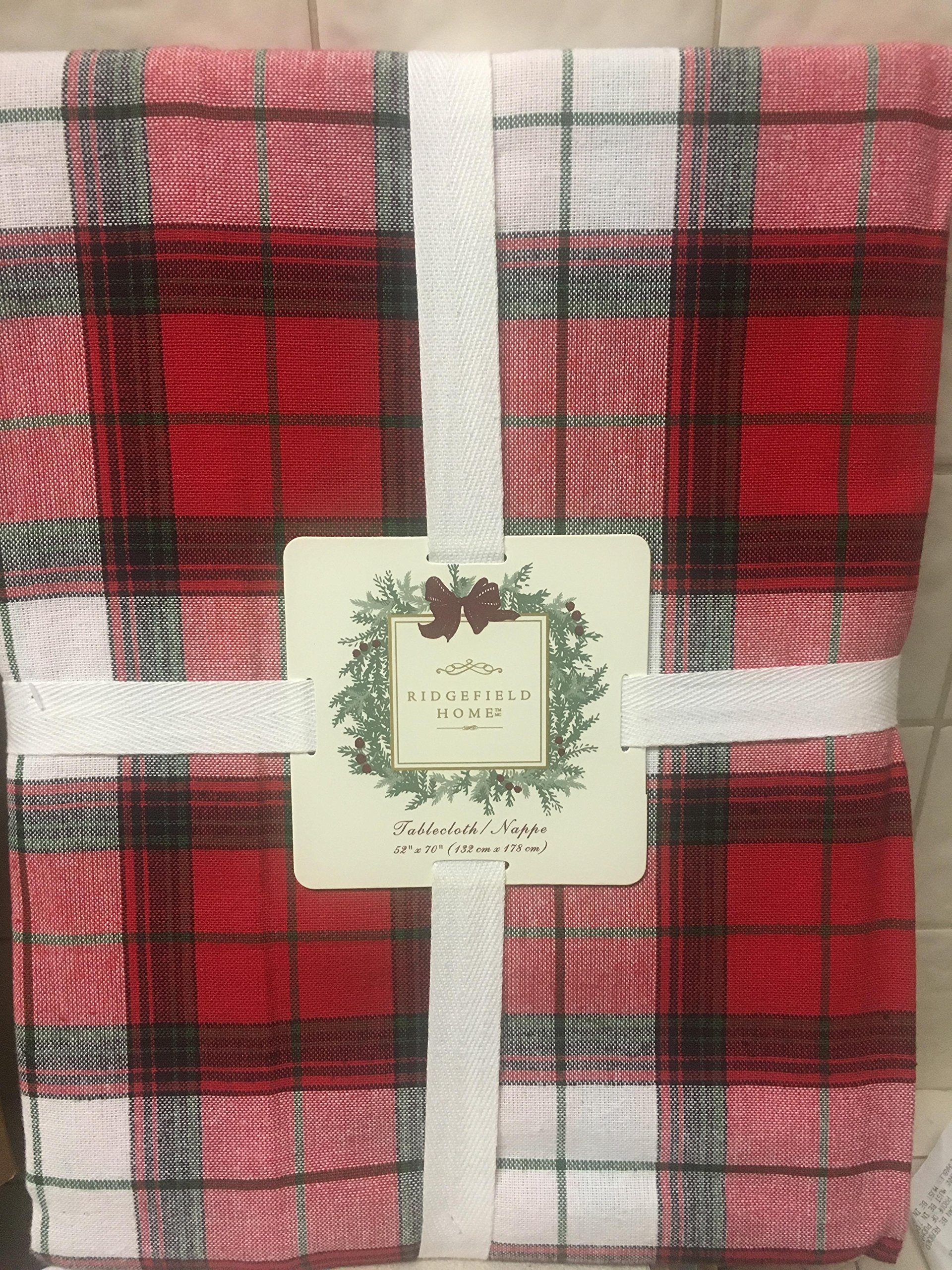 """Ridgefield Home Fabric Cotton Christmas Holiday Scottish Plaid Tartan Pattern Tablecloth Red Green White 52 x 70"""" Inches"""