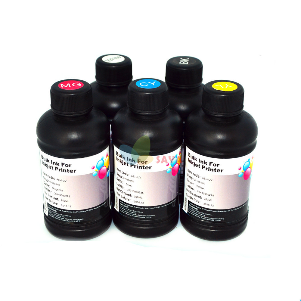 250ml Pre-Coating for glass+ 4x250ml B/C/M/Y colors UV Ink/UV LED Ink/UV Printing Ink For epson UV Flatbed Printer dx3 dx5 dx7